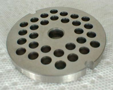 Tre Spade Meat Grinder Plate for #8 Grinder, 6 mm holes Stainless Steel