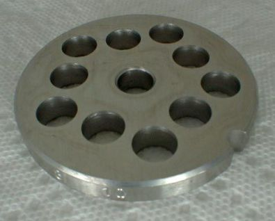Tre Spade Meat Grinder Plate for #8 Grinder, 10 mm holes Stainless Steel