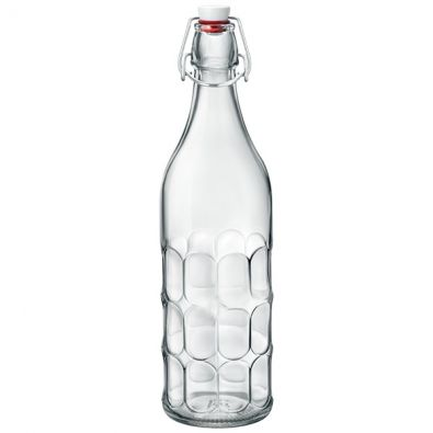 35 Oz Multi-Faceted Clear Glass Bottle