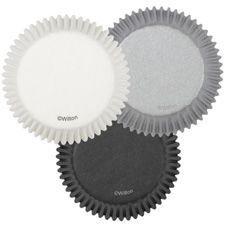 Wilton Standard Cupcake Liners, Silver Black and White