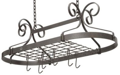 Enclume Heavy Decor Scrolled Oval Pot Rack, Knock Down, Hammered Steel