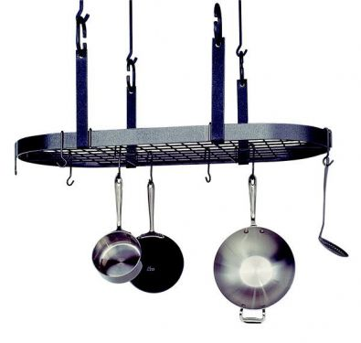Four Point Oval Pot Rack, Hammered Steel
