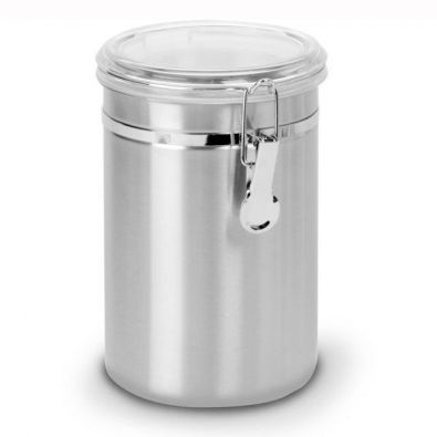 Anchor Hocking Round Stainless Steel Canister With Clear Clamp Lid 63 Oz