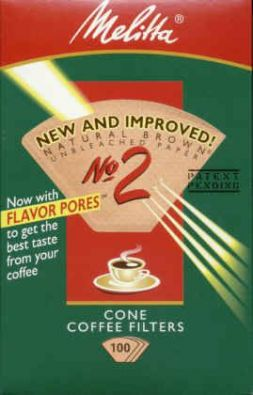 No.2 Cone Melitta Coffee Filter Paper 100-Count Brown
