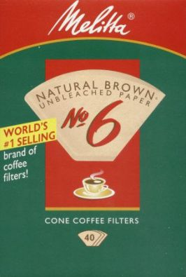 No.6 Cone Melitta Coffee Filter Paper 40-Count Brown