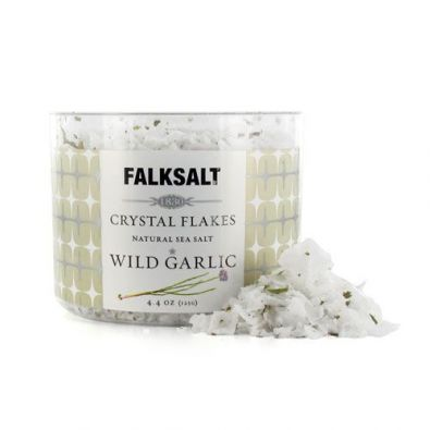 Falksalt Natural Sea Salt Crystal Flakes, Wild Garlic