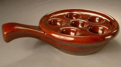 Brown Ceramic Escargot Plate with Handle