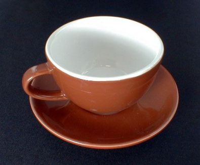 Heavy Porcelain Cappuccino Cups and Saucers, Set of 6, Brown and White