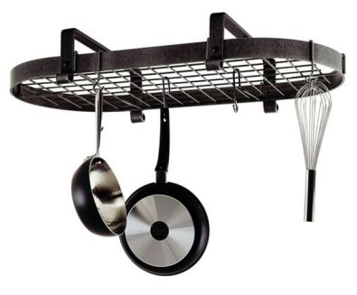 Low Ceiling Oval Rack, Hammered Steel