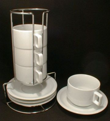 Stackable Porcelain Cappuccino Set, 8 Piece with Stand