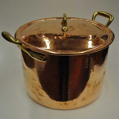 Navarini Hammered Copper 28cm Stock Pot With Lid
