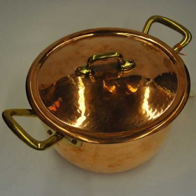 Navarini Hammered Copper 20cm Casserole Pot With Lid