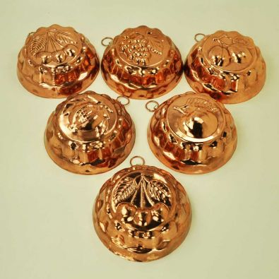 Italian Copper Molds 6-Pc 4-Inch Round Set