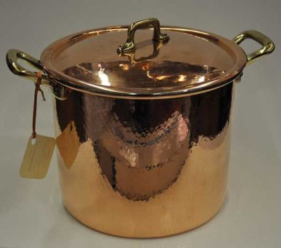 Navarini Hammered Copper 24cm Stock Pot With Lid
