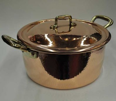 Navarini Hammered Copper 28cm Casserole Pot With Lid