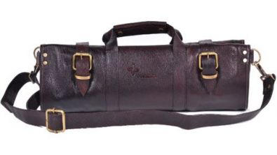 Boldric Leather Two Buckle Knife Roll 18 Pocket Brown