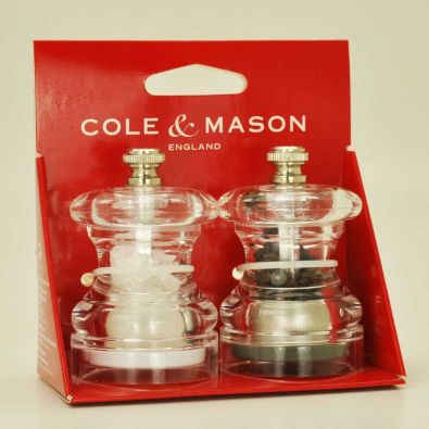 Cole and Mason Button Salt and Pepper Acrylic Mill Gift Set