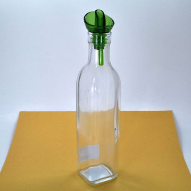 Cube Clear Square Glass Bottle With Pourer 8-Oz