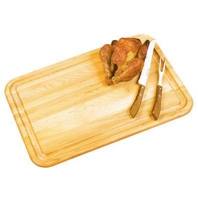 Reversible Wood Cutting Board With Moat 19x13
