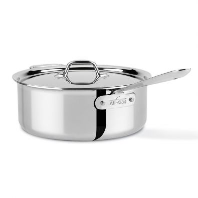 All-Clad Stainless Steel 6 Quart Deep Saute Pan with Lid