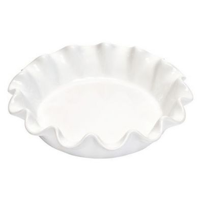 Emile Henry Ruffled Pie Dish 10-In Flour White