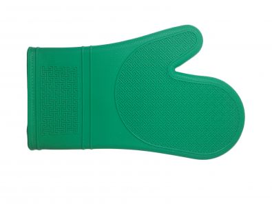 Silicone and Fabric Oven Mitt, Emerald Green