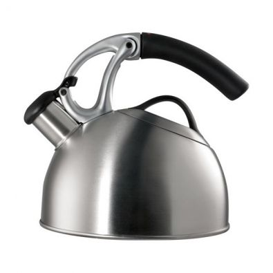 OXO Good Grips Uplift Whistling Tea Kettle, Brushed Stainless, 2 Qt.