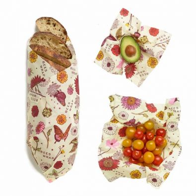 Vegan Bee's Wrap Meadow Magic Set of 3 Assorted Sizes (S,M,L)