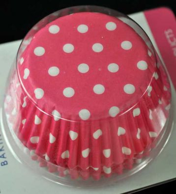 PME Standard Cupcake Cups, Pink and White Polka Dots