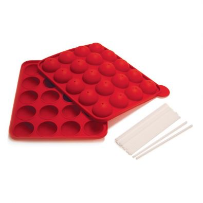 Norpro Red Silicone Cake Pop Pan With Sticks