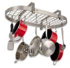 Enclume Low Ceiling Oval Pot Rack Rack with Grid, Stainless Steel